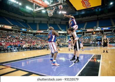 SACRAMENTO, CA - JANUARY 15: The Harlem Globetrotters compete against the International Elite at Power Balance Pavilion in Sacramento, California on January 15, 2012