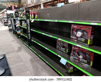 SACRAMENTO, CA - JANUARY 6, 2018: Graphics card shelves at an electronics store picked clean by cryptocurrency miners. Miners target nVidia GeForce GPUs for their mining efficiency.