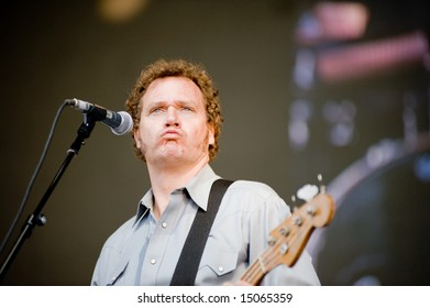 Sacramento, CA - July 17,2008: Bassist Davey Faragher performs onstage at the Sleep Train Amphitheater in Marysville, CA with Elvis Costello and the Imposters
