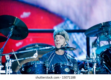 Sacramento, CA - July 17,2008: Drummer Stewart Copeland performs onstage at the Sleep Train Amphitheater in Marysville, CA with The Police in their North American Reunion Tour