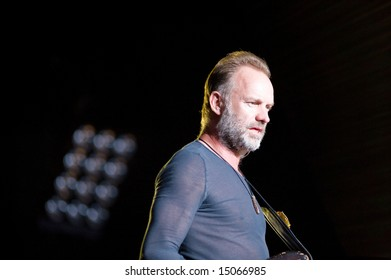 Sacramento, CA - July 17,2008: Singer Sting performs on-stage at the Sleep Train Amphitheater in Marysville, CA with The Police in their North American Reunion Tour