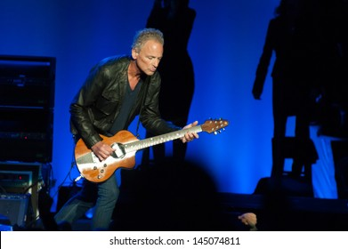 SACRAMENTO, CA - JULY 6: Lindsey Buckingham of Fleetwood Mac performs in support of the bands' Extended Play release at Sleep Train Arena on July 6, 2013 in Sacramento, California.