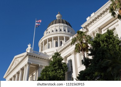 Sacramento, CA - June 30, 2018: Sideview of the famous landmark in Sacramento. The capitol building in this state capital city.