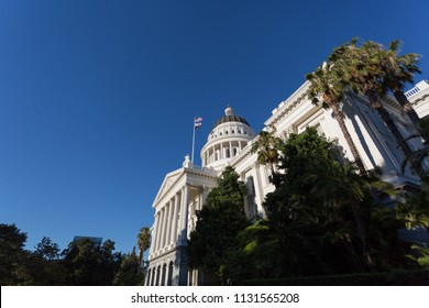 Sacramento, CA - June 30, 2018: Wide angle view of the popular and powerful state capitol building in Sacramento, the capital of California.