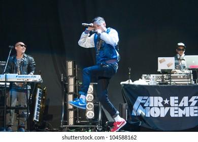 SACRAMENTO, CA - JUNE 6: Far East Movement performs in LMFAO's tour at Power Balance Pavilion in Sacramento, California on June 6, 2012