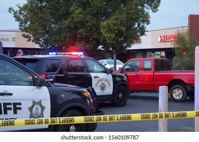 SACRAMENTO, CA, NOVEMBER 13, 2019–Sacramento County Sheriff's Office and California Highway Patrol on scene of an arrest for an unknown reason on Stockton Boulevard