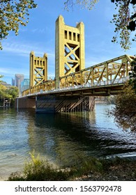 Sacramento, CA - November 16, 2019: Tower bridge during the day on a sunny day. Famous destination.