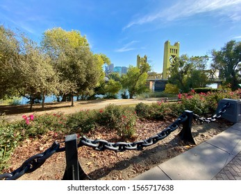 Sacramento, CA - Novmber 16, 2019: Wide view of the Sacramento River with the famous Tower bridge in the back.