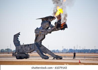 SACRAMENTO, CA - SEPT 11: Robosaurus performs at California Capital Airshow, September 11, 2010, Mather Airport, Sacramento, CA