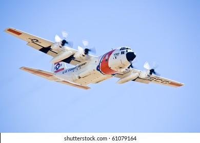 SACRAMENTO, CA - SEPT 11: US Coast Guard C-130 Hercules at California Capital Airshow, September 11, 2010, Mather Airport, Sacramento, CA