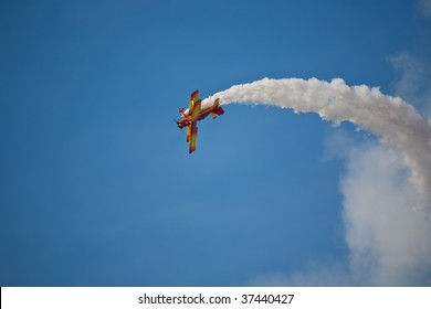 SACRAMENTO, CA - SEPT 13: Gene Soucy flies his Grumman Ag Cat at California Capital Airshow, September 13, 2009, Mather Airport, Sacramento, CA