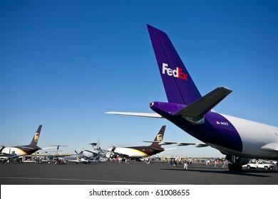 SACRAMENTO, CA - SEPTEMBER 11: FedEX and UPS cargo aircraft on display at California Capital Airshow, September 11, 2010, Mather Airport, Sacramento, CA