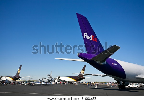 SACRAMENTO, CA - SEPTEMBER 11: FedEX and UPS cargo aircraft on display at California Capital Airshow, September 11, 2010, Mather Airport, Sacramento, CA
