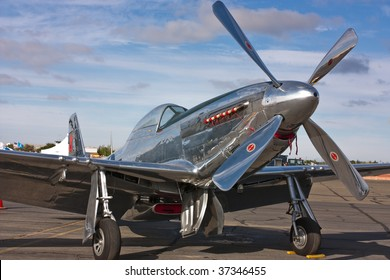 SACRAMENTO, CA - September 13: Vintage P-51 Mustang aircraft on display at California Capital Airshow, September 13, 2009, Mather Airport, Sacramento, CA