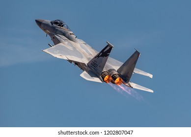 Sacramento, CA - September 212018:  F-15 Eagle Fighter Aircraft  at California Capital Airshow