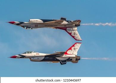 Sacramento, CA - September 212018: USAF Thunderbirds F16