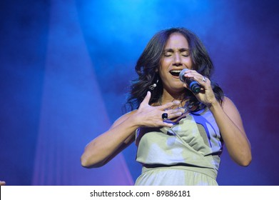 SACRAMENTO, CA - SEPTEMBER 23: Lorrain Munoz  of The Cover Girls performs at Power Balance Pavilion in Sacramento, California on September 23, 2011