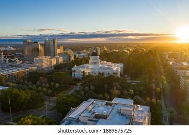 "Sacramento, CA - United States of America - 01-07-2021: ""California State Capitol Building, Downtown Sacramento, CA during Sunrise - Aerial Drone View"""