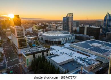 """Sacramento, CA - United States of America - 01-07-2021: """"Golden 1 Center, Downtown Sacramento, CA - Sunrise - Aerial Drone View"""
