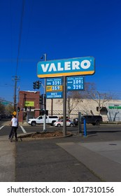 SACRAMENTO, CA, USA - FEB 2, 2018:  Valero Company logo on Store front facade