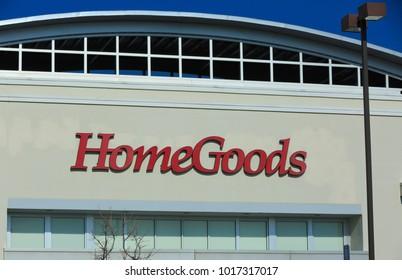 SACRAMENTO, CA, USA - FEB 2, 2018:  HomeGoods Company logo on Store front facade
