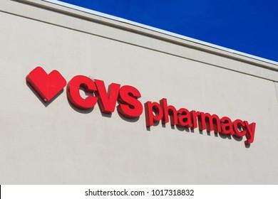 SACRAMENTO, CA, USA - FEB 2, 2018:  CVS Pharmacy Company logo on Store front facade