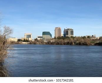 SACRAMENTO, CA, USA - FEB 2, 2018:  Downtown Sacramento by the river .
