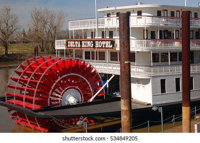 Sacramento, CA, USA - February 13, 2007 the Riverboat Delta King takes vistiors on a journey along the Sacramento River in Sacramento, California