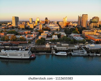 SACRAMENTO, CA, USA - JUN 12, 2018: Aerial View of Downtown Sacramento in a late afternoon summer day.