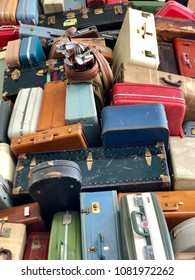 SACRAMENTO, CA, USA - MAY 1, 2018: Pile of old classic used old luggage .