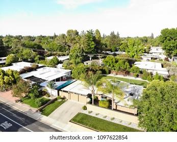 SACRAMENTO, CA, USA - MAY 19, 2018: Aerial view of Eichler home exterior