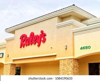 SACRAMENTO, CA, USA - MAY 5, 2018: Raley's Grocery Store logo at store front