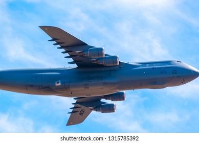 Sacramento, CA USA - October 10 2018 - A U.S. Air Force Galaxy C-5 Galaxy passes over the city in its approach to Mather Airport