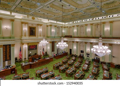 SACRAMENTO, CALIFORNIA - AUGUST 13: An empty House of Representatives Chamber in the California State Capitol building on August 13, 2013 in Sacramento, California