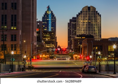 Sacramento, California - December 16, 2016: Downtown Sacramento during sunset in Sacramento, California on December 16, 2016