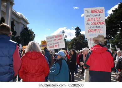 """SACRAMENTO, CALIFORNIA - FEBRUARY 26: Labor union supporters gather at the California State Capitol for the """"Rally to Save the American Dream"""" in Sacramento, California on February 26, 2011"""