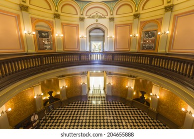 SACRAMENTO, CALIFORNIA - July 4, 2014:  Historic rotunda inside the California state capitol building.