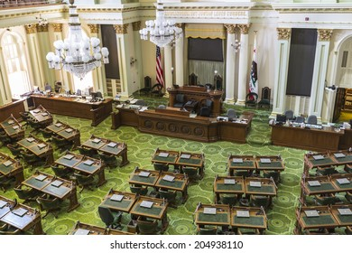SACRAMENTO, CALIFORNIA - July 4, 2014:  The California state capitol legislature meeting room in Sacramento, California.