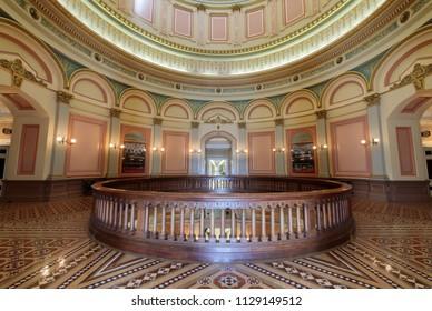 Sacramento, California  - July 6, 2018: California State Capitol's 2nd floor rotunda.