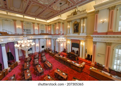 SACRAMENTO, CALIFORNIA - MAY 31, 2014: An empty Senate Chamber in the California State Capitol building on May 31, 2014 in Sacramento, California