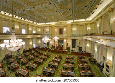 SACRAMENTO, CALIFORNIA - MAY 31, 2014: An empty Assembly Chamber in the California State Capitol building on May 31, 2014 in Sacramento, California