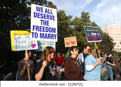 Sacramento, California, November 22, 2008: Protest against the passage of Proposition 8 banning gay marriage.