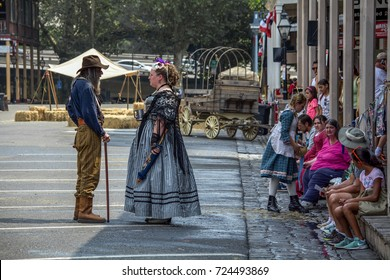 Sacramento, California, USA, 3 September 2017.  Re-enactors at Gold Rush Days celebration in Old Sacramento. The festival happens every year on Labor Day to re-enact the Gold Rush in California