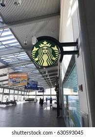 SACRAMENTO, CALIFORNIA, USA - APR 27, 2017: Starbucks Sign at the airport caffe