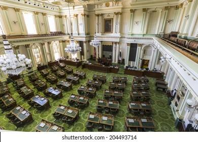 Sacramento, California, USA - July 4, 2014:  Interior of the California State Legislature meeting room in the state capitol building in Sacramento, California.