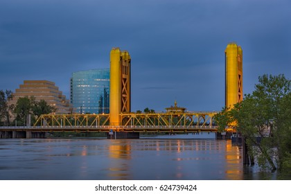 Sacramento California Yellow Tower Bridge