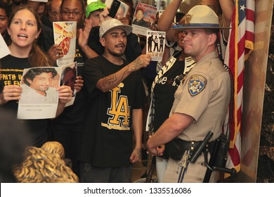 Sacramento, California/USA – September 2, 2015: Demonstrators at the office of Governor Jerry Brown rallying in support for passage of Assembly Bill 953 (AB953) the Racial Identity Profiling Act.