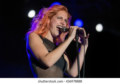 Sacramento, CA/USA - 10/4/2014 : Lizzy Plapinger performs with MS MR at the TBD Festival in Sacramento, CA.