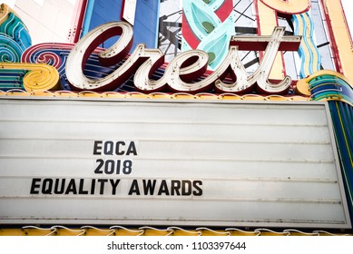 SACRAMENTO, CA/U.S.A. - APRIL 10, 2018: A photo of The Crest Theatre marquee, located in the downtown area.