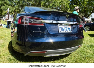 SACRAMENTO, CA/U.S.A. - APRIL 22, 2018: A close up of a Model S Tesla on display as part of Sacramento's annual Earth Day Festivities in Southside Park.